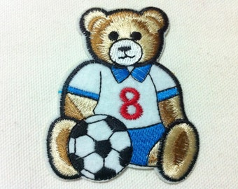 Cartoon Cutie Bear Football (6.5 x 8 cm) Embroidered Iron on Applique Patch (AL)