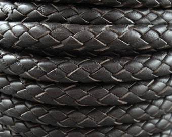 Leather Braided Cord, 8MM Dark Brown Bolo Leather, Excellent Quality All Leather, One Yard