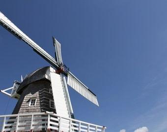 Minimalist Windmill Photograph, Blue sky, bright white,(Old Mill)