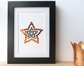 Hand embroidered card copper gold silver sequins star motif-home accessory-office article-paper goods-cardmaking craft-writing-decoration
