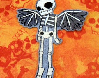 Skeleton Iron On Patch, Angel Wings, Day of the Dead, Motorcycle, Biker, Iron On Patch, Winged Skeleton