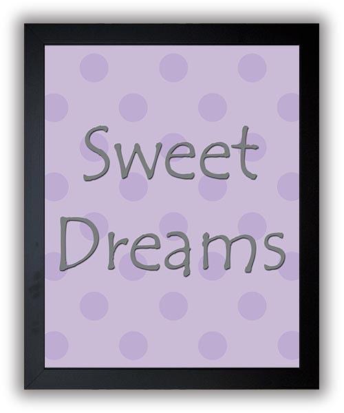 Sweet Dreams Print Nursery Art Nursery Baby Art Polka Dots Purple Grey Gray Decor Child Baby Art Pri