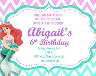 Little Mermaid Ariel Birthday Party Invitation - Digital File