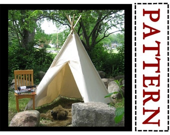 Kids Canvas Teepee Sewing Pattern, Kids Tent, Play Tent Pattern, Easy To Sew Project, Instant Download