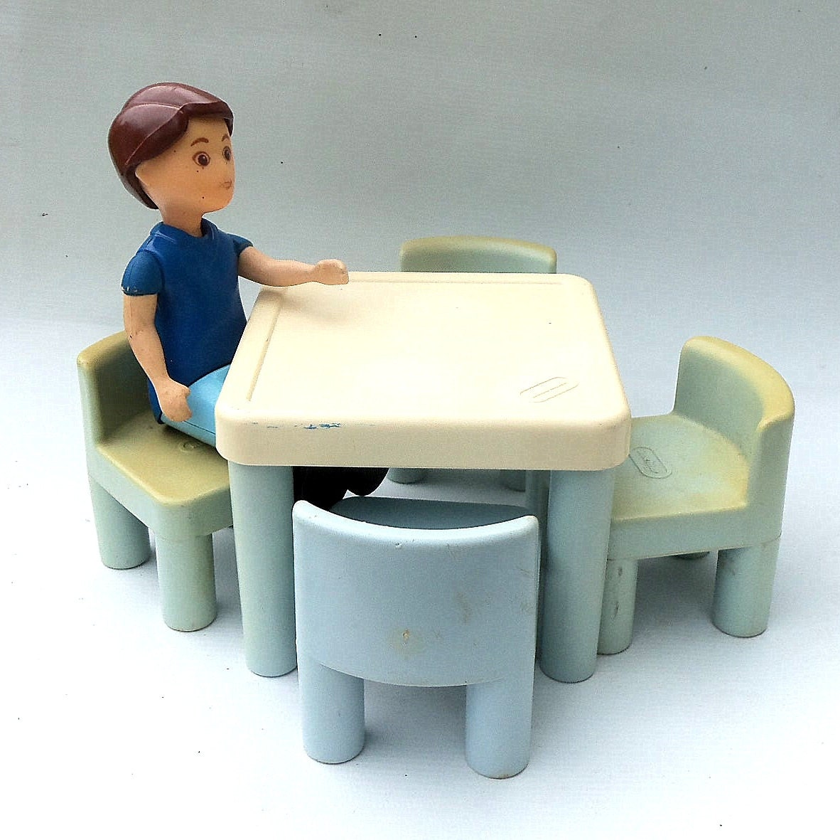 Dollhouse Furniture Little Tikes Father Dad Blue Table With