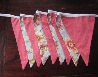 Vintage Floral Bunting, pale pinks and blues