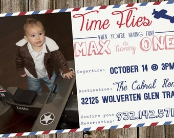 First Birthday Invitation -  Time Flies- Air Mail & Plane