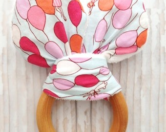 Bunny Ear Teether - Wooden Teething Ring with Fabric - Safety Compliant Crinkle Material Inside - Sensory Toy - Coconut Oil - Baby Gift