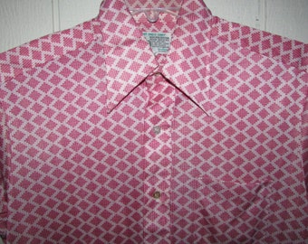 Vintage Mod Disco Button Up Shirt Size Large,made In USA, From Kmart