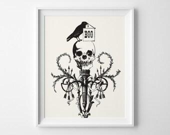 Halloween Art, Halloween Print, Halloween Decor, Vampire Skull Raven Edgar Allan Poe Print, Boo Black Bird Halloween Party Decor, Fall Decor