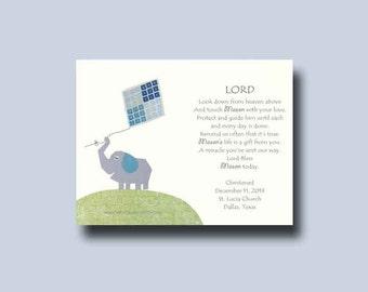 Baptism Gift, Christening Gift, Personalized Baptism gift, Godchild Gift, Baptism Keepsake, Baby Boy Nursery, Elephant Nursery, Christening
