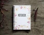"4x6"" Flower notebook, spiral notebook journal, lined notebook, pocket notebook, blank book pages, travel accessories spring floral art favor"