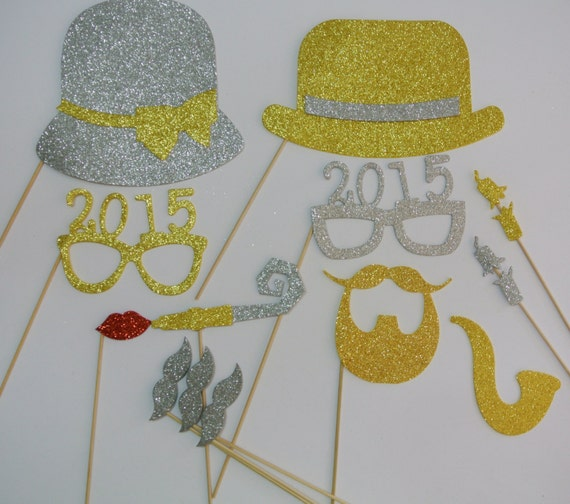 New Years 2015 Photo Booth Props Bowler Hat Ladies Hat gold and silver ...