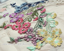 2 pcs Vintage Style Flower Applique, Iron On Patch Floral LARGE Patch Iron or Sew On patch Various Colors