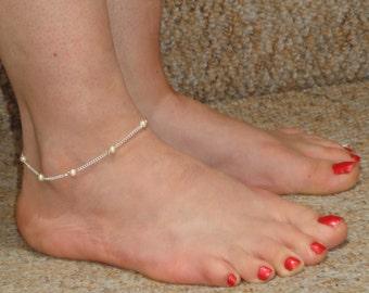 Silver pearl anklet, Pearl ankle bracelet, Ankle jewelry, Silver ankle bracelet Ankle bracelet UK, Gifts