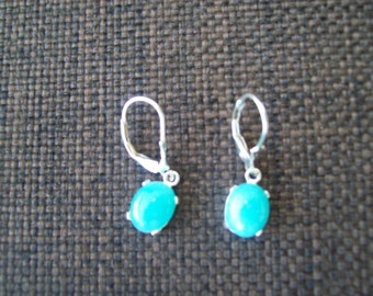 Genuine Amazonite Earrings in 925 Sterling Silver 10x8mm
