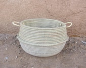 Wedding Gift, CreamWhite Flower Basket, Open Chest, Storage, Laundry Baskets, African Laundry Hamper