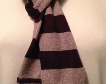 Sale   Brown Scarf    Khaki Scarf   Stripes  Cotton Scarf   Repurposed