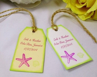 10 Starfish Favor Tag , Welcome Wedding Favor Tag , Welcome Gift Bag Tag , Beach Wedding Thank You Tag , Destination Wedding Name Tag