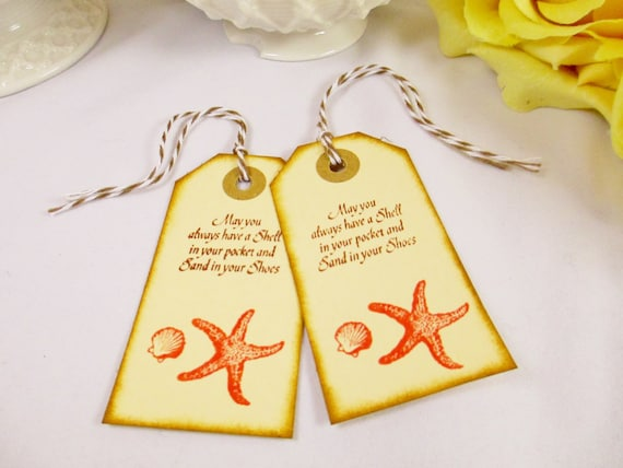 Beach Wedding Gift Bags: Items Similar To Coral Welcome Wedding Favor Tag/Welcome