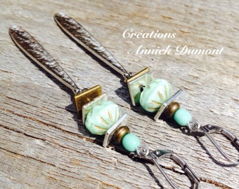 Steel earrings green beads Czech beads