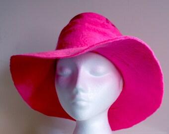 Rose pink, large brimmed hat, handmade wet felted OOAK