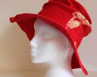 Scarlet, large brimmed hat, handmade wet felted OOAK