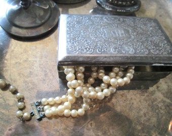 Vintage Shabby Silverplate Box With Mirror