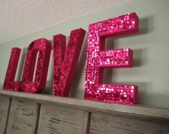 LOVE Sequin Letters in Fushcia