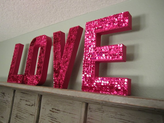 items similar to love sequin letters in fushcia on etsy