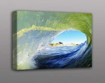 Ocean Wave Photography Stretched Canvas Print California Surfer Home Decor