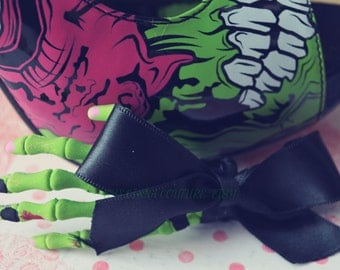 Iron Fist Inspired Bow ZOMBIE Skeleton Hand Hair Clip