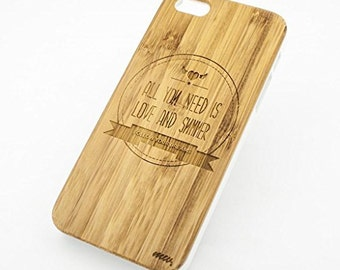 Bamboo Wood Case Cover for Apple iPhone 5/5S All You Need is Love and Summer