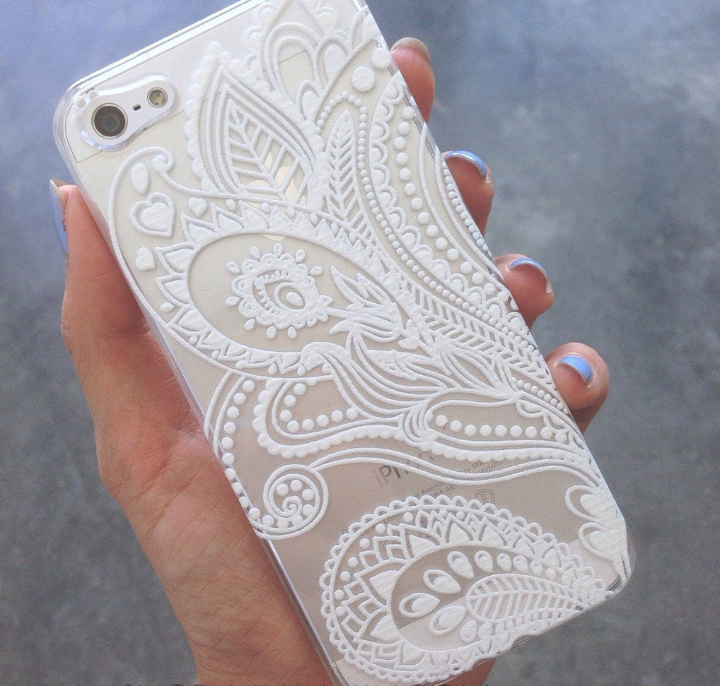 iPhone designer cell phone cases for iphone 5 : Clear Plastic Case Cover for Apple Devices Henna White by STUCHI