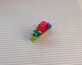 Snail Bow Clip. Toddler Snail Bow Clip. Infant Hair Bow. Baby hair accessories.
