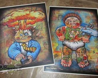 Garbage Pail Kid, Fan Art PRINT LOT!, Tattoo Lou, Adam Bomb, GPK Sticker Artwork, Signed and Numbered 11x14 Fan Art Prints by David Lizanetz