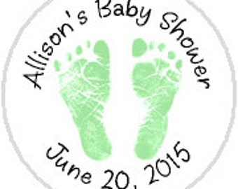 Baby Shower Green Footprints - 108 Stickers Labels - fits Hershey Kisses®