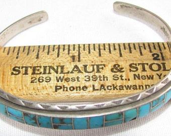 Vintage turquoise sterling CUFF open-end Bracelet - 13.2 grams