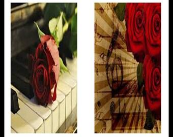 Pianos And Roses - Dominoes - Digital Download Sheets - Collage Sheets - Roses - Roses And Pianos - Piano Keys - DDP401