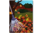 FALLING LEAVES  Greeting Card or Print - Childhood Memories -  Simple Pleasures - Autumn Leaves - Colors of Fall - Home Decor  (CMEM2013073)