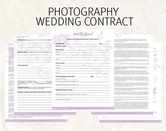 Wedding Photography contract business forms floral camera editable templates - 5 psd files supplied