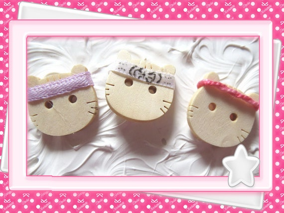 0: )- CABOCHON -( WOODEN Cat with Karate Head Band CUSTOM