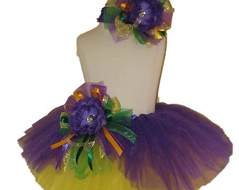 Mardi Gras Tutu Set . Infant . Toddler . 4-6X Size . SHORT . Purple Tutu . Yellow Tutu