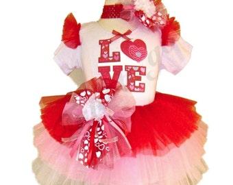 Valentines Day Tutu Set . LOVE Red Posey Valentine Tutu Set