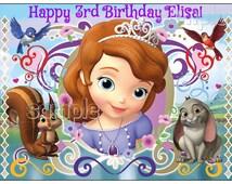 SOFIA the first EDIBLE image cake topper decoration party birthday Custom cupcake princess Sophia