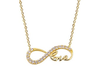 Endless Love 14k Solid Gold Necklace Infinity