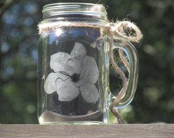 Personalized Handled Mason Jar  Mug / Daisy Lid / Etched Glass / Magnolia Bloom / Makes a great gift for the woman that has everything