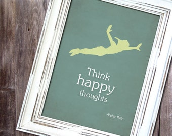 "Disney Peter Pan inspired Baby Children Boy or Girl Birth Gift idea Nursery room wall art decor ""Think happy thoughts"" - Print 8x10 -"