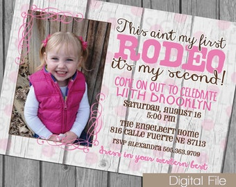 girl birthday party invitation, second birthday invitation, shabby chic, texas, cowgirl, rodeo, fence, rustic, barn, country