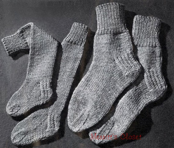 Knitted Slippers Pattern With Two Needles : Two Needle Socks Vintage Knitting Pattern INSTANT DOWNLOAD